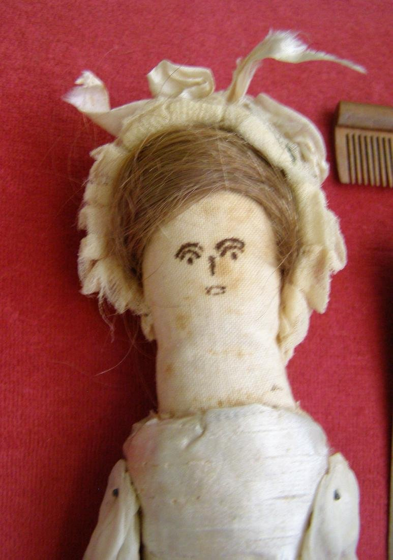 Antique 1800s Handmade Fabric Doll-Real Hair - 4