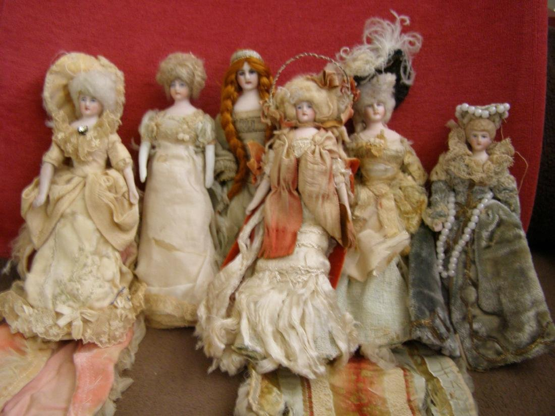 Antique Set of 6 Dollhouse Dolls in Theatrical Costumes
