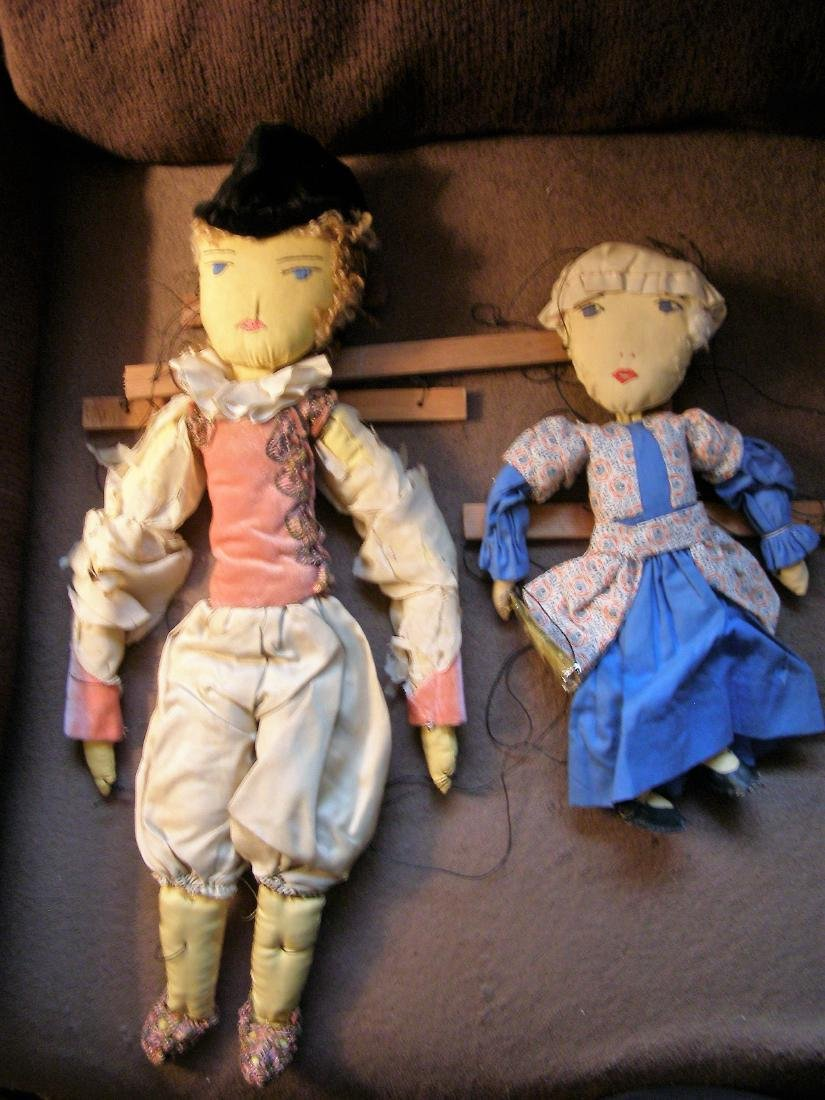 Antique WPA Cloth Marionette Puppets - The Prince and
