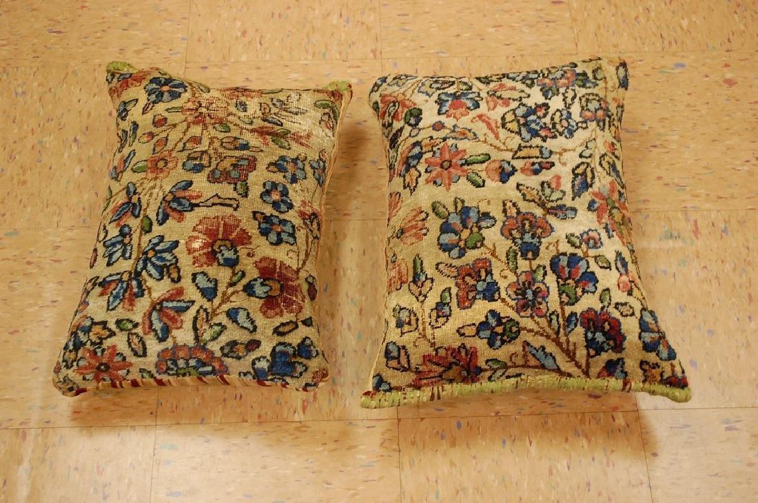 2 Fine Lavar Kerman Antique Rug Pillows 1.2x1.8