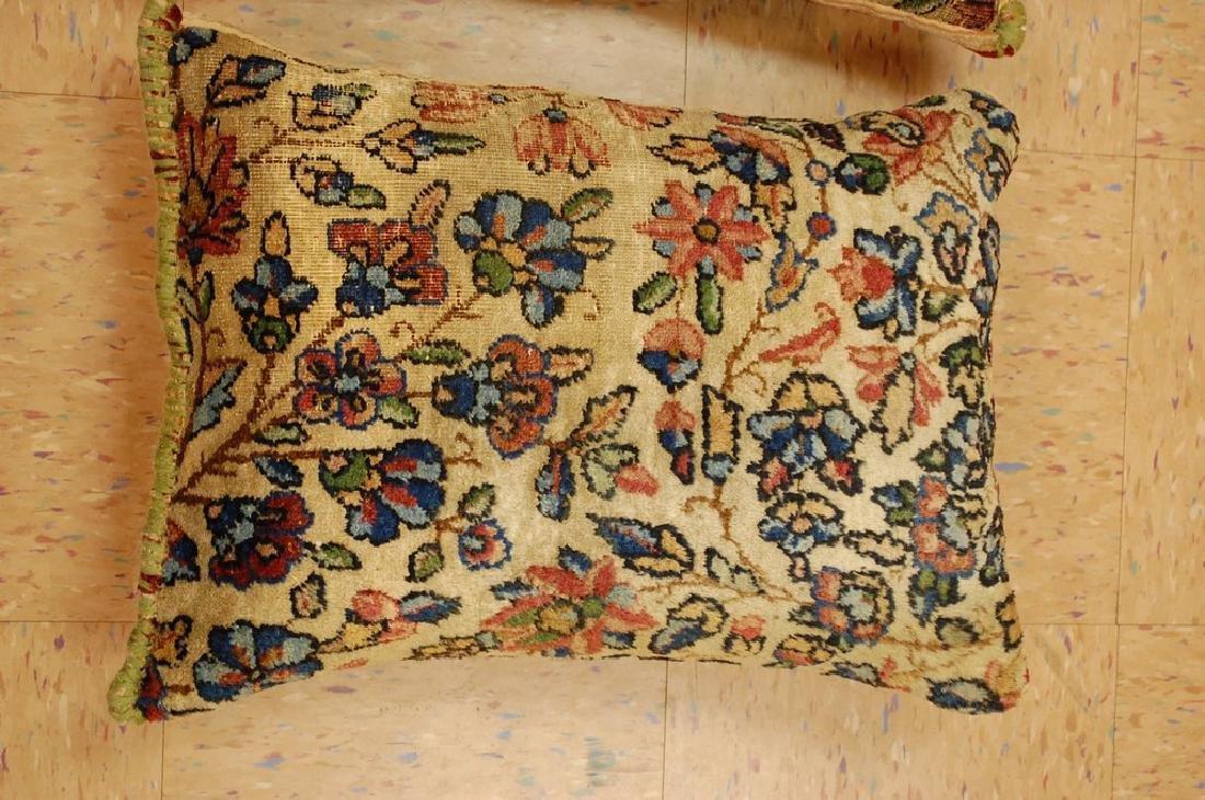2 Fine Lavar Kerman Antique Rug Pillows 1.2x1.8 - 2