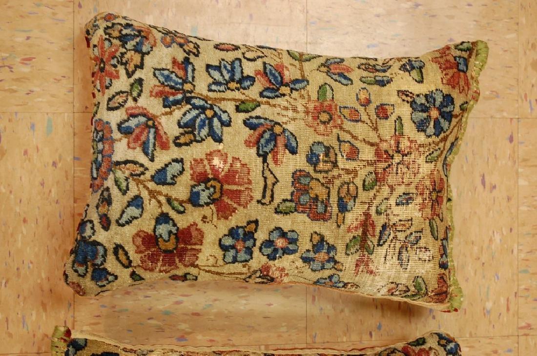 2 Fine Lavar Kerman Antique Rug Pillows 1.2x1.8 - 3