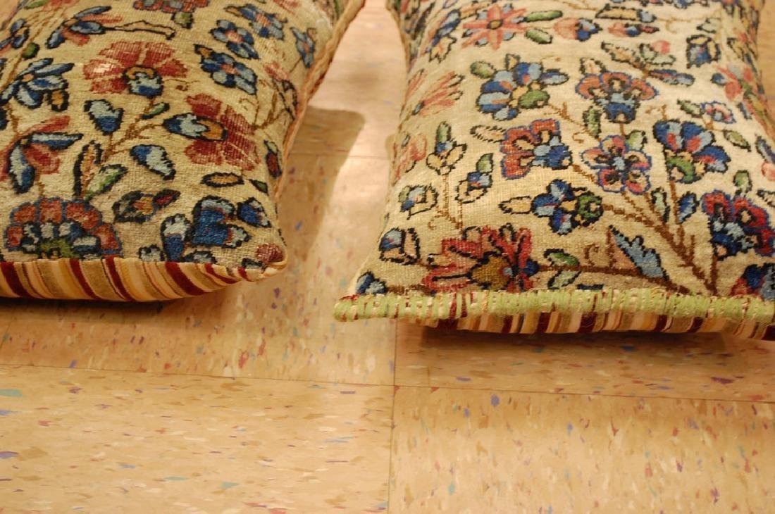2 Fine Lavar Kerman Antique Rug Pillows 1.2x1.8 - 4
