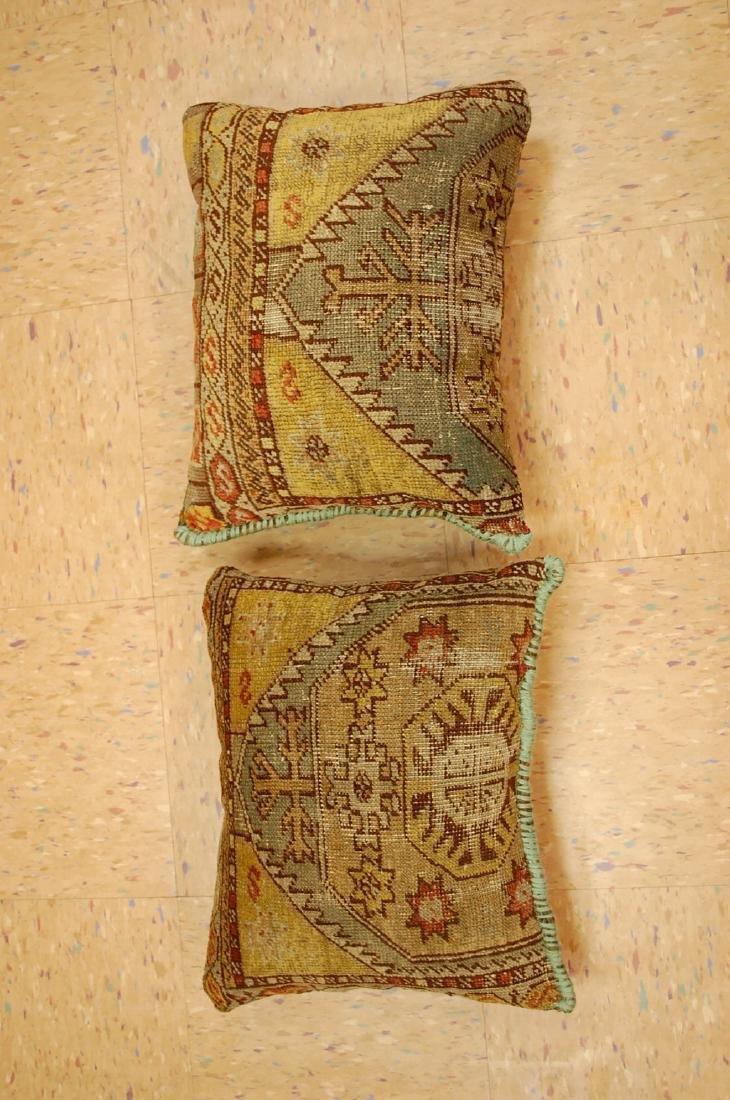 2 Fine Turkish Melas Antique Rug Pillows 1.2x1.5