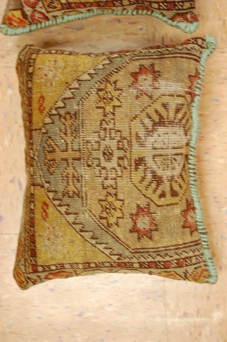 2 Fine Turkish Melas Antique Rug Pillows 1.2x1.5 - 2