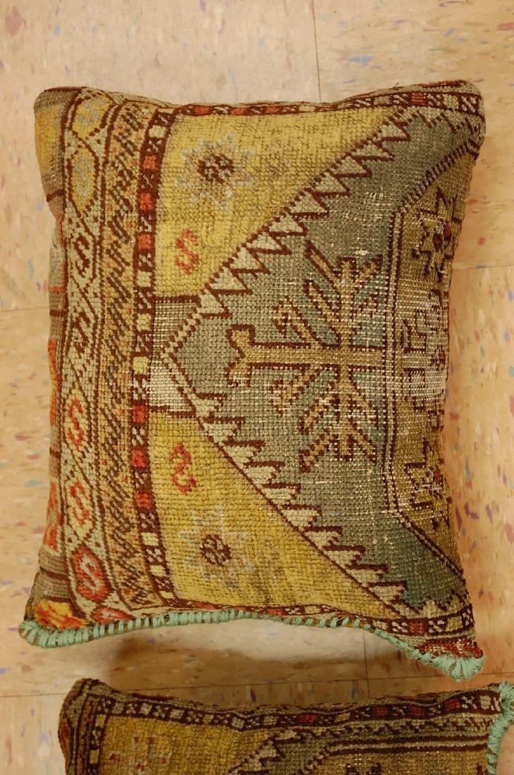 2 Fine Turkish Melas Antique Rug Pillows 1.2x1.5 - 3