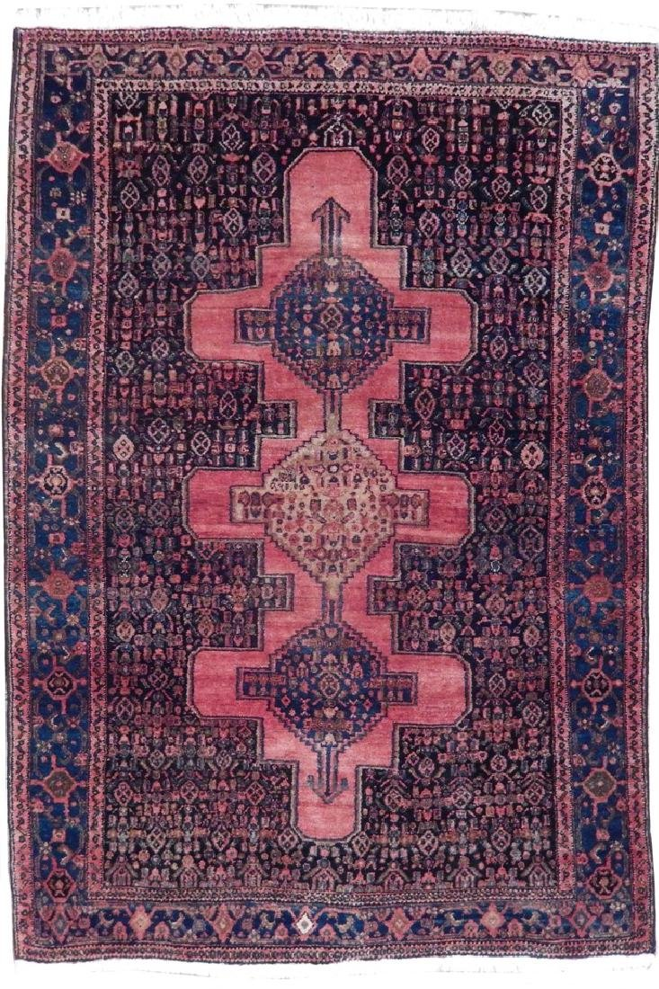 Vintage Handmade Wool Semi-Antique Persian Rug 4.4x6.7