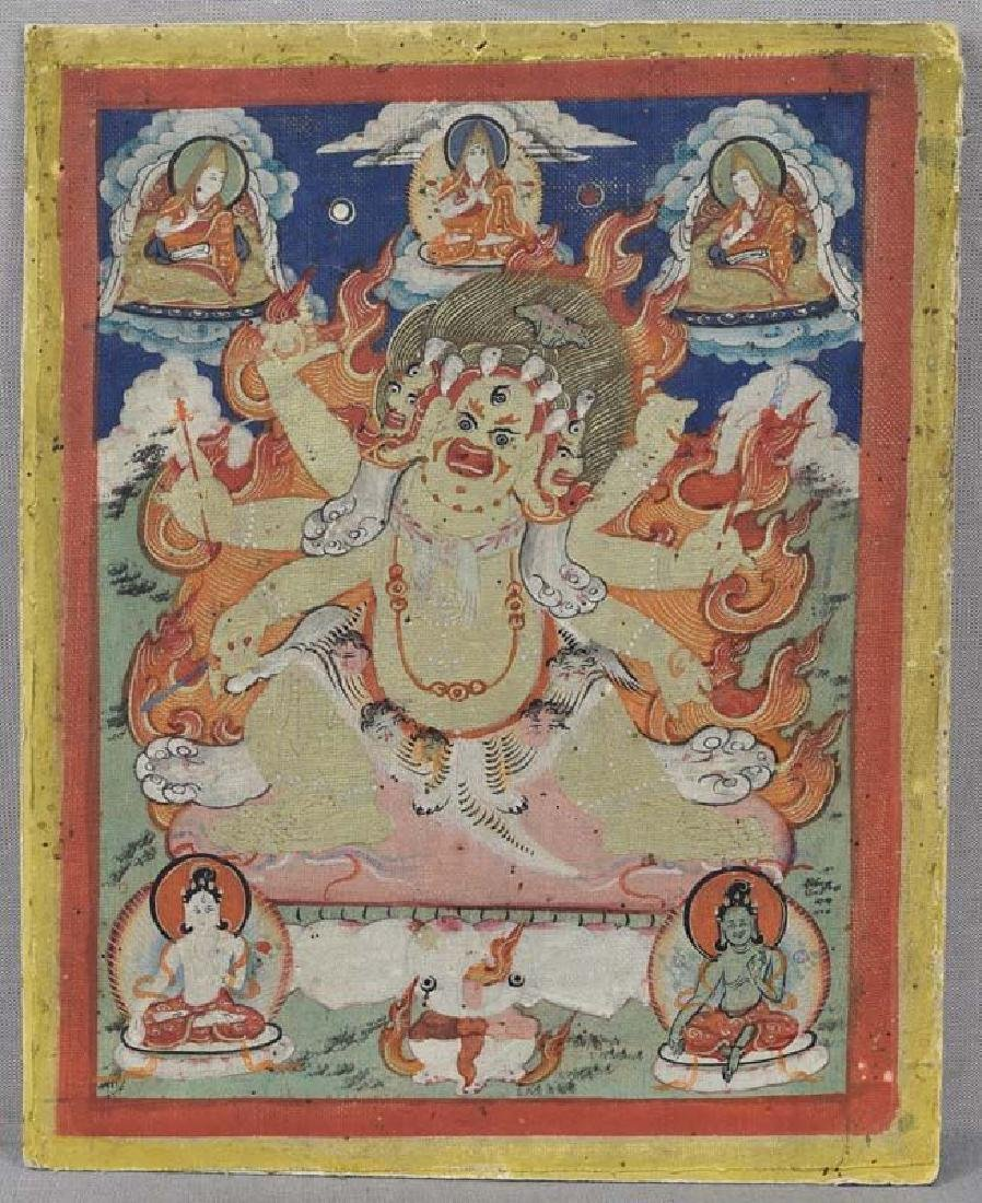 Antique Tibetan Thangka White Hayagriva, 19th C
