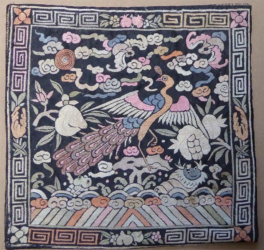 Antique Chinese Textile 3rd Rank Badge Mandarin Square