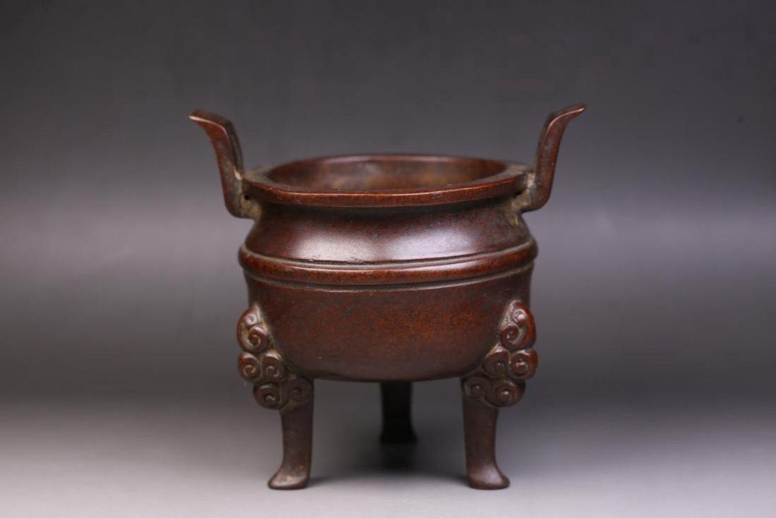 Chinese Qing Dynasty Tripod Bronze Incense Burner