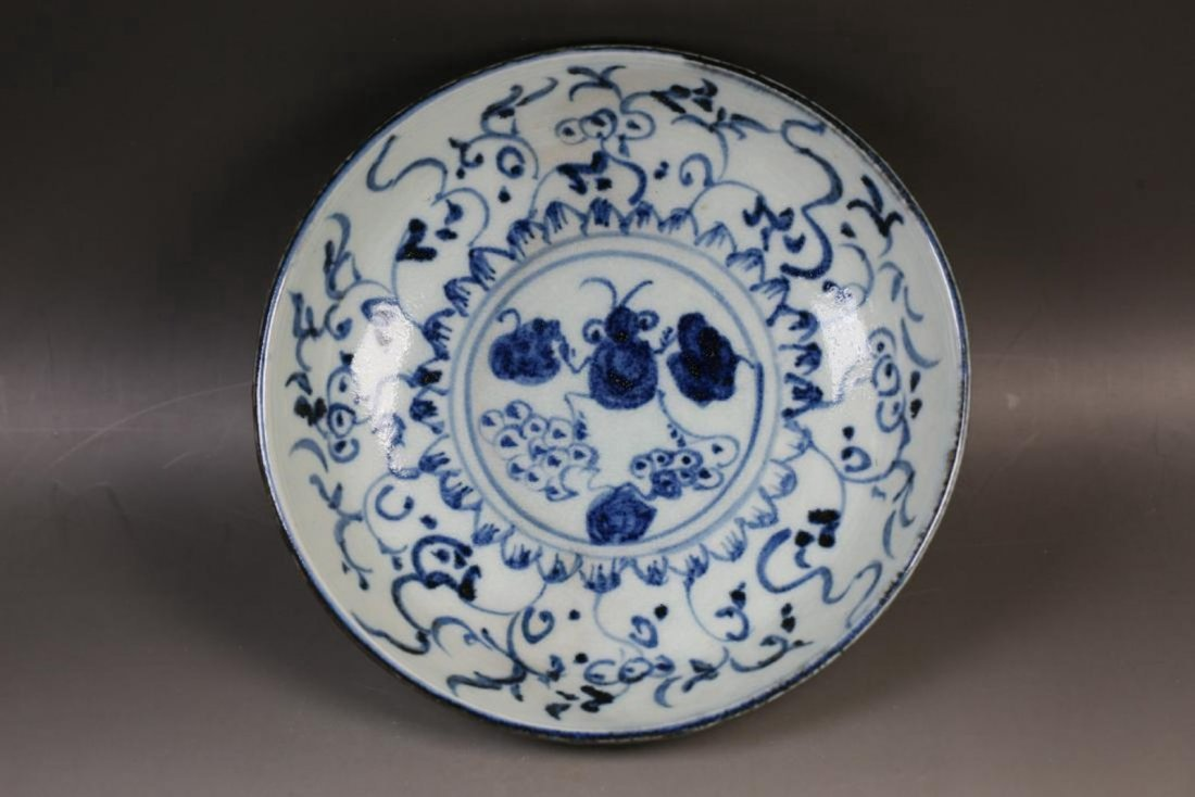 Chinese Qing Dynasty Blue and White Porcelain Plate