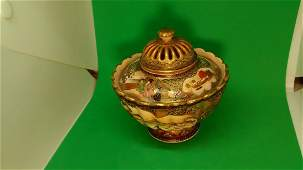 Antique Japanese Satsuma Porcelain Bowl with Lid