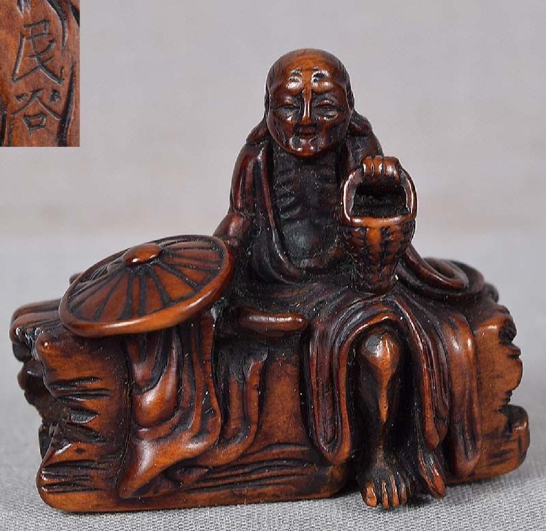 Antique Japanese Boxwood Netsuke Sotoba Komachi