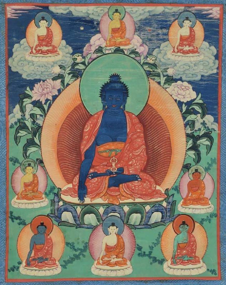 Antique Tibetan Thangka Akshobya With 8 Buddhas
