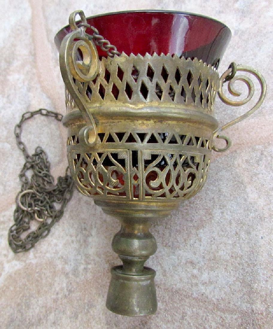ANTIQUE RUSSIAN 19th CENTURY ICON LAMP w/ GLASS INSERT