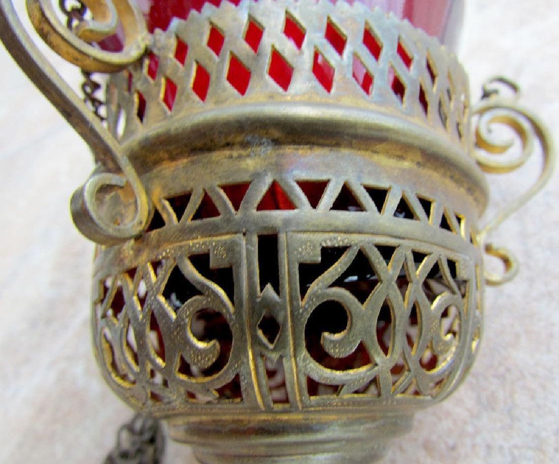 ANTIQUE RUSSIAN 19th CENTURY ICON LAMP w/ GLASS INSERT - 3