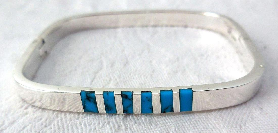 Vintage Mexican Sterling Silver Turquoise Bracelet