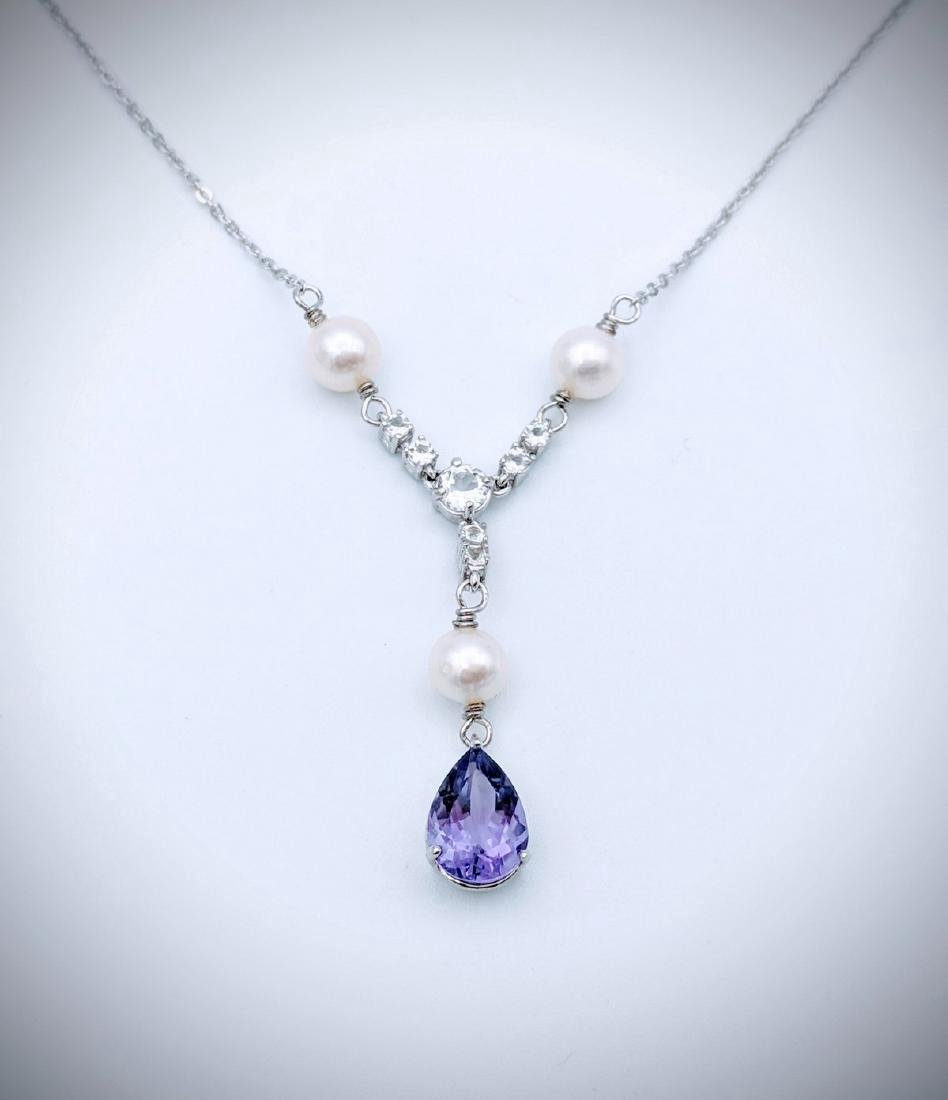 Sterling Silver Amethyst Pearl Winged Necklace, 2ct