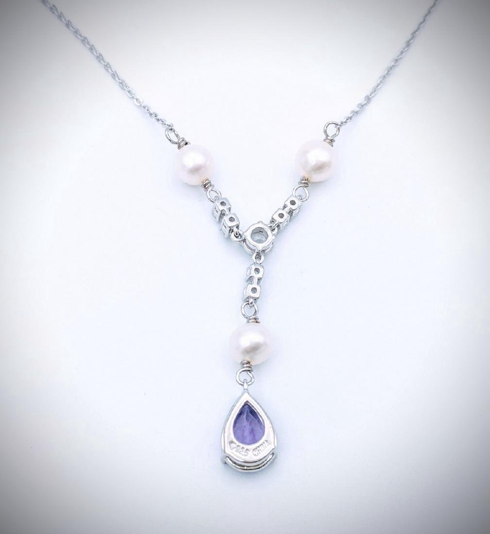 Sterling Silver Amethyst Pearl Winged Necklace, 2ct - 2