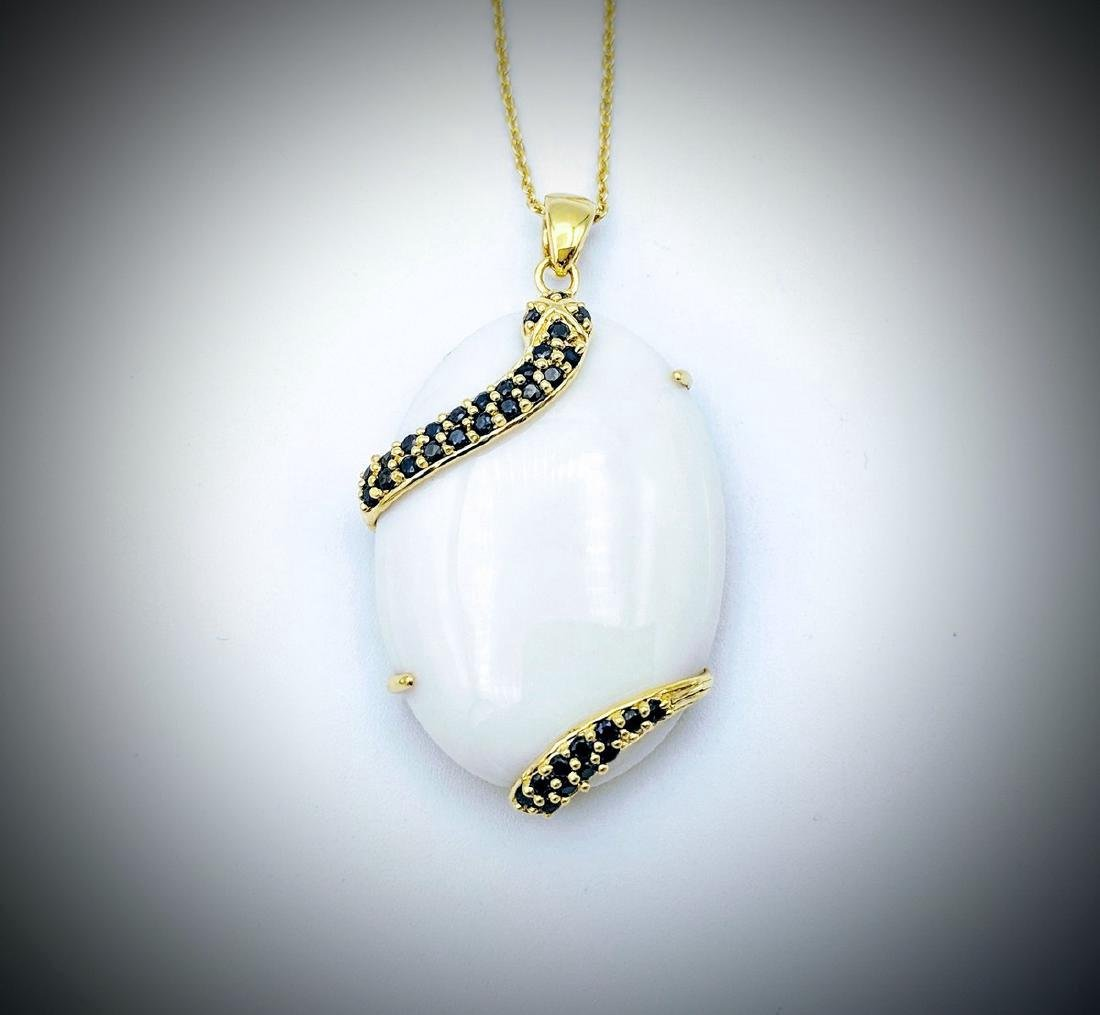 Gold Plated Sterling Silver White Onyx Snake Necklace