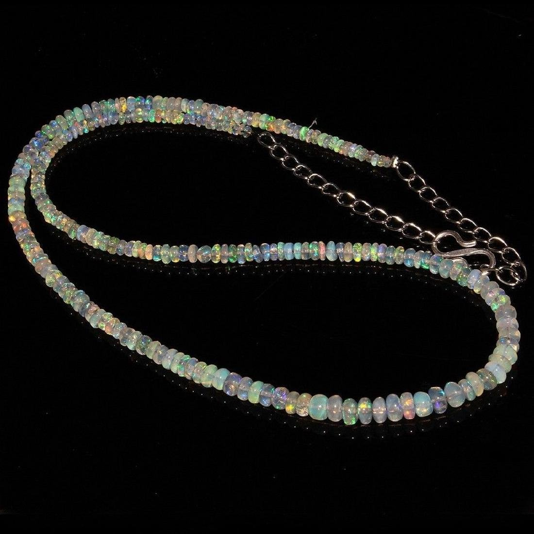 Sterling Silver Ethiopian Opal Bead Necklace, 34ctw