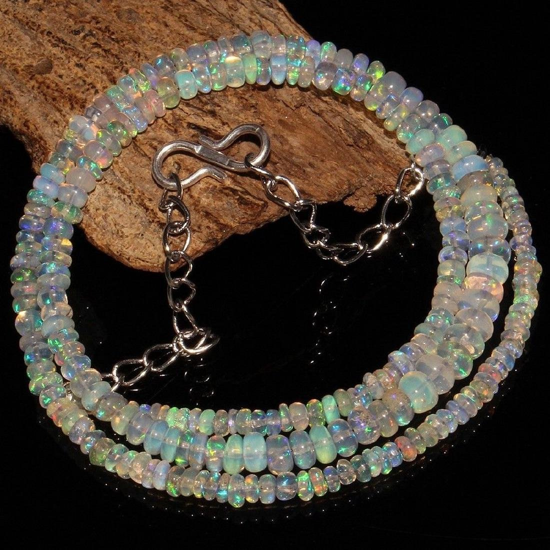 Sterling Silver Ethiopian Opal Bead Necklace, 34ctw - 2
