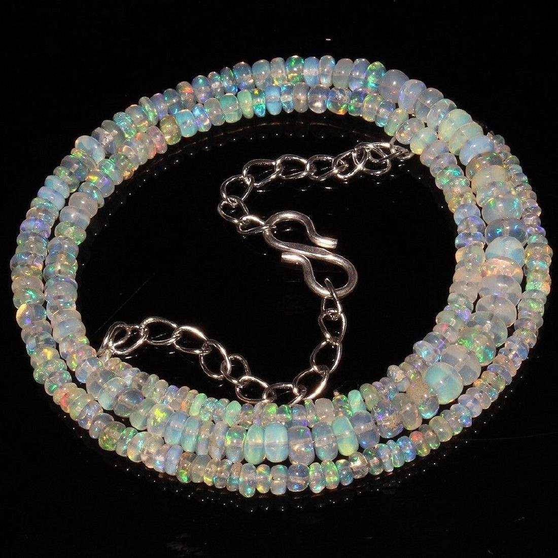 Sterling Silver Ethiopian Opal Bead Necklace, 34ctw - 3