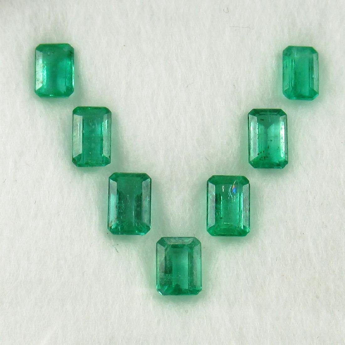 2.77 Carat 7 Loose Octagon Emeralds Necklace Set
