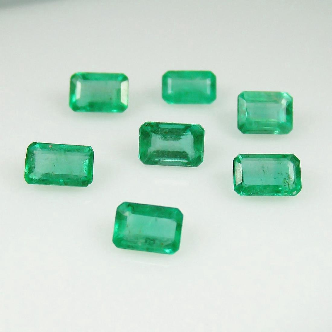 2.77 Carat 7 Loose Octagon Emeralds Necklace Set - 2