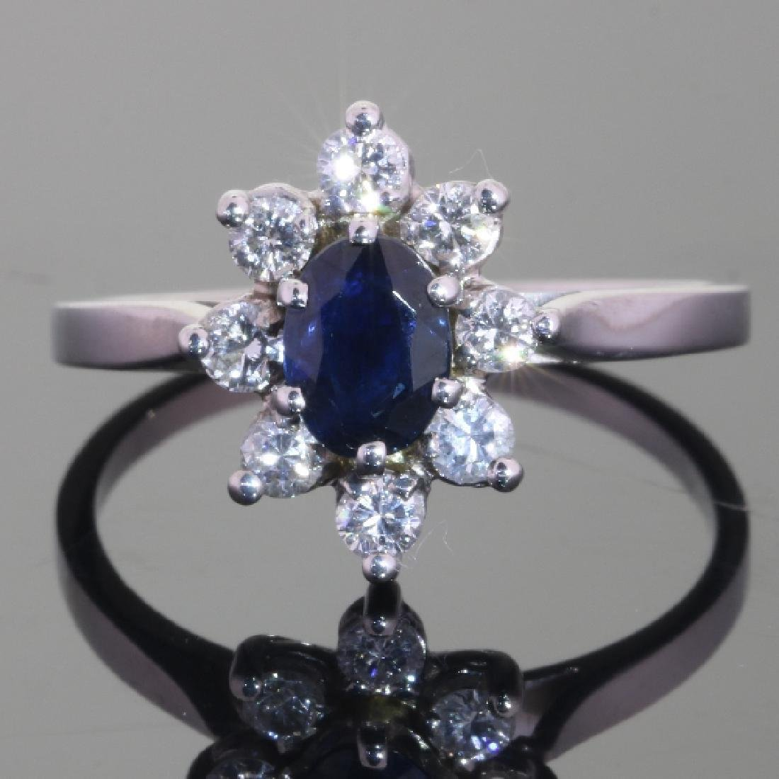 18K White Gold Sapphire Diamond Halo Ring, 0.88ctw