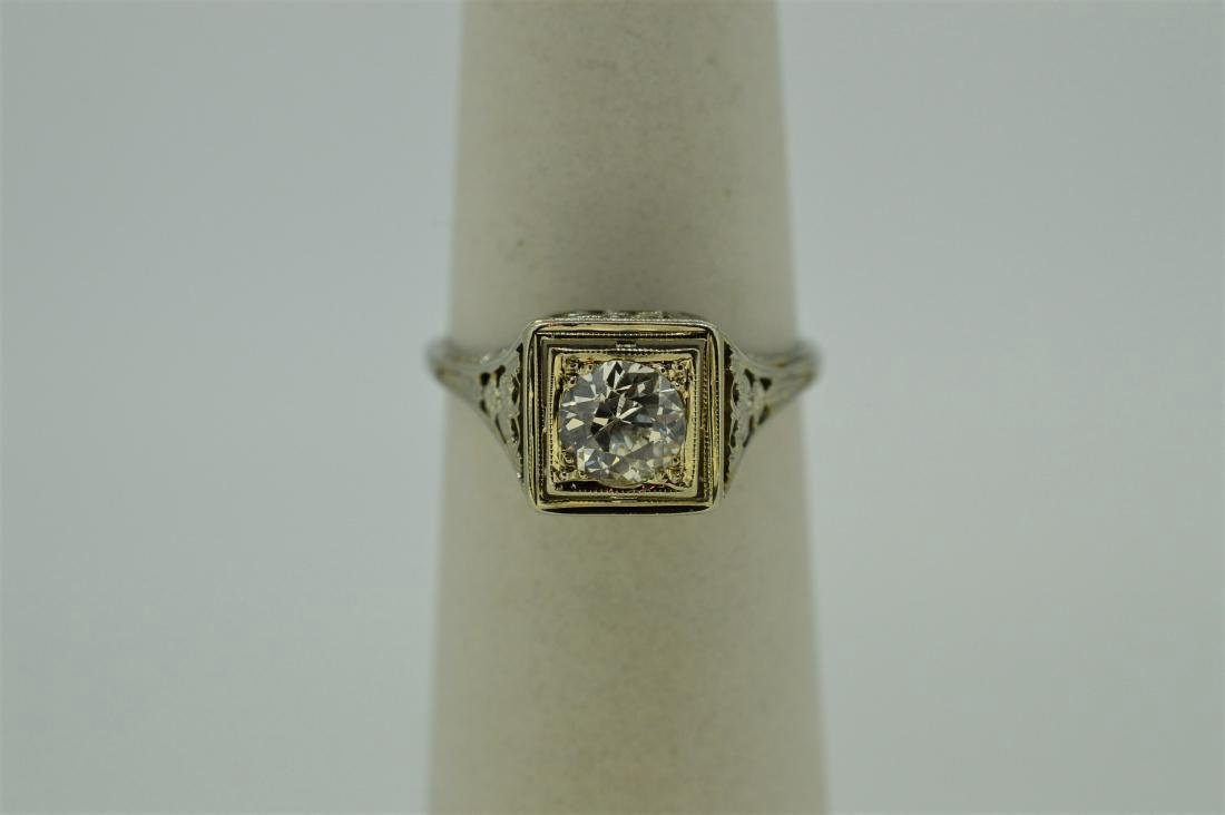 Antique 14k White Gold & Diamond Ring, .5ctw