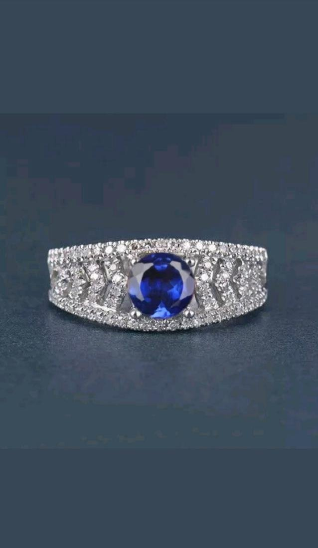 14k White Gold Tanzanite Diamond Ring, 2ctw