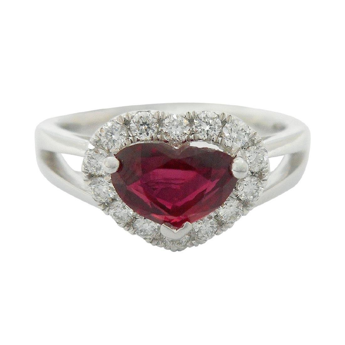 Platinum 0.99ct UNHEATED Ruby 0.27ct Diamond Ring, GIA