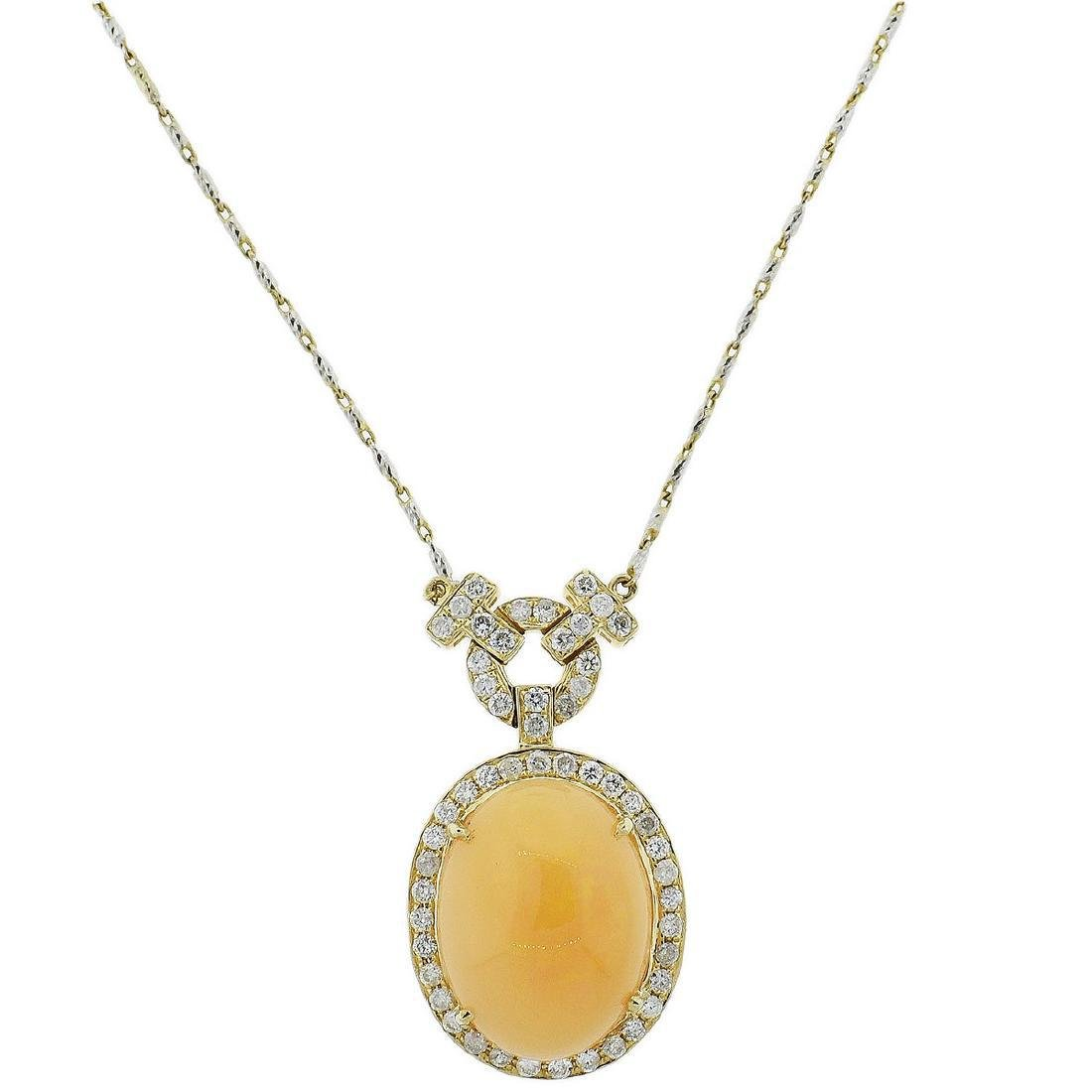 14K Yellow Gold 11.88ct Opal 1.17ct Diamond Necklace