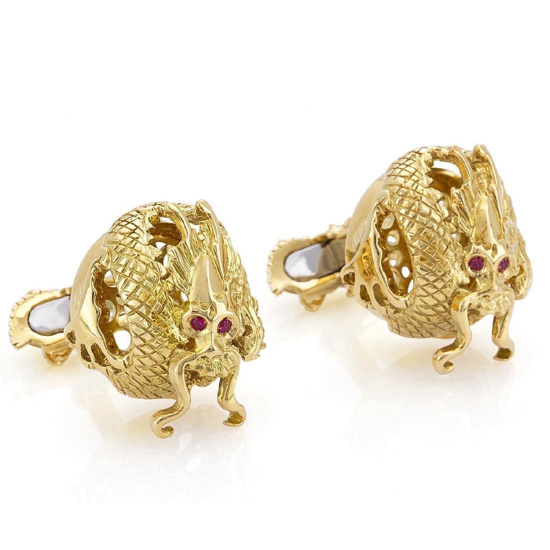 Montegrappa 18K Gold/Silver Figural Dragon Cufflinks