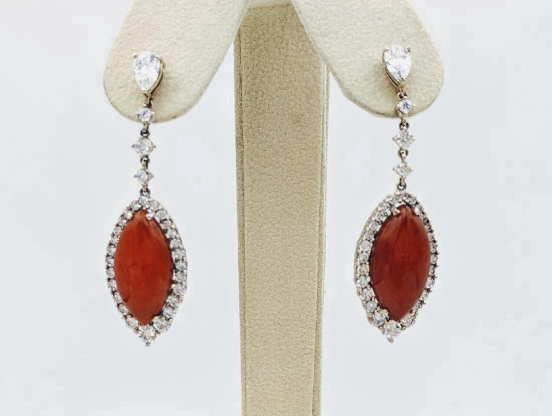 Sterling Silver Dangling Jasper Cubic Zirconia Earrings