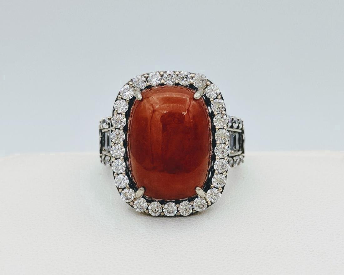 Sterling Silver Jasper and Cubic Zirconia Ring