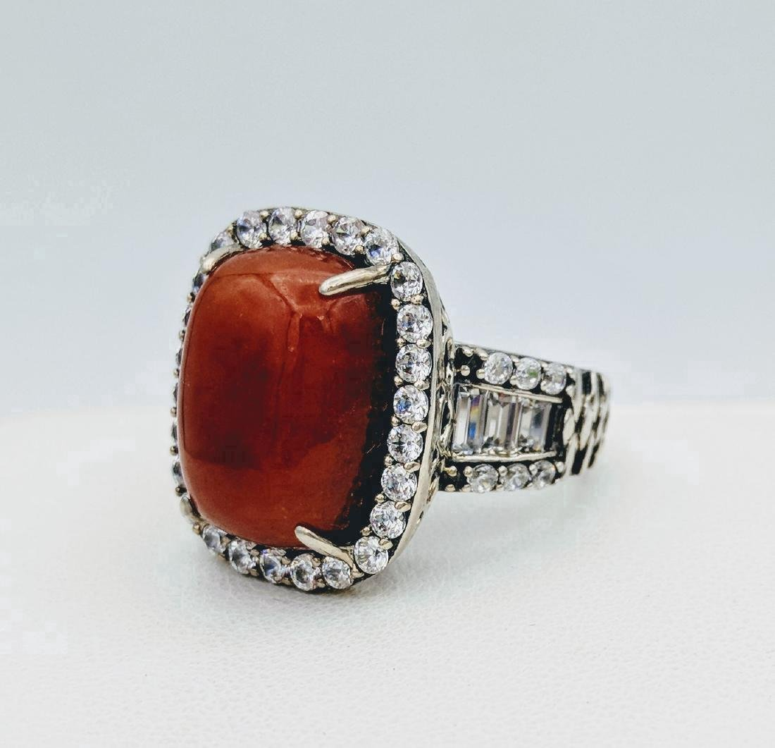 Sterling Silver Jasper and Cubic Zirconia Ring - 2