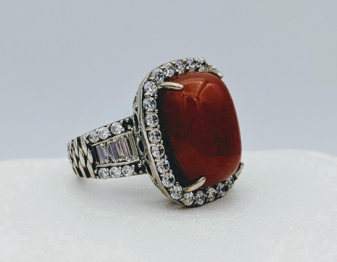 Sterling Silver Jasper and Cubic Zirconia Ring - 3