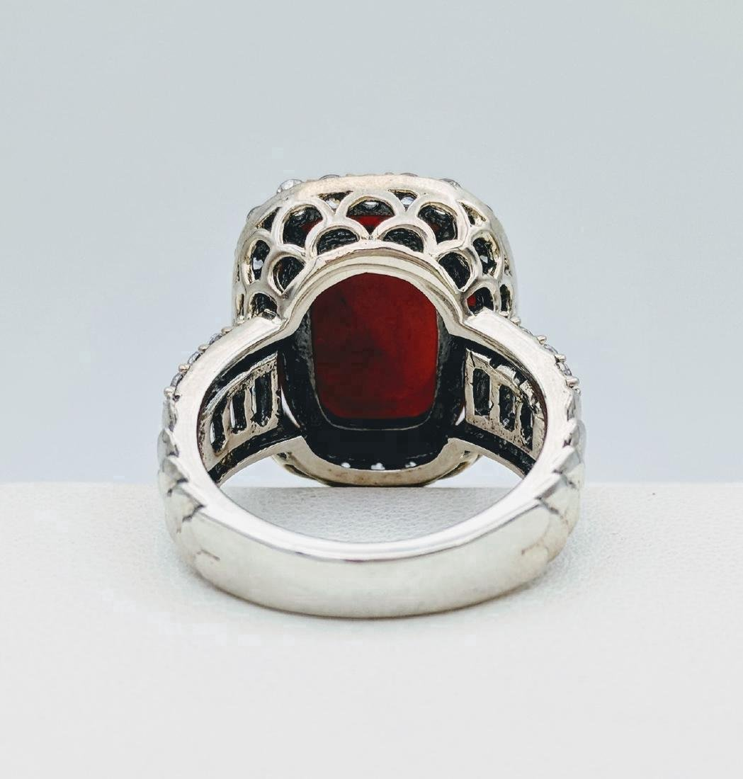 Sterling Silver Jasper and Cubic Zirconia Ring - 4