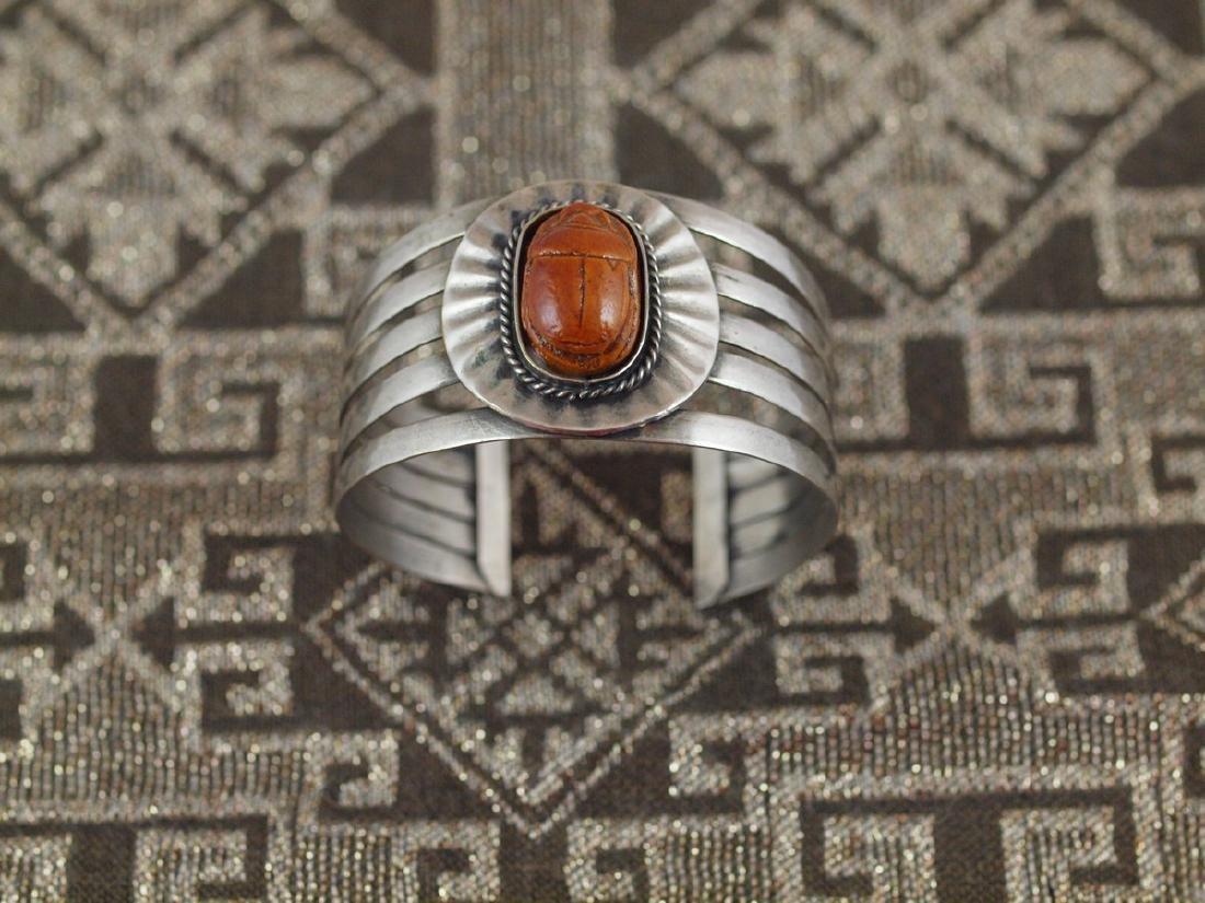 Rigid Silver Bracelet Beetle Antique Egypt, 1920s