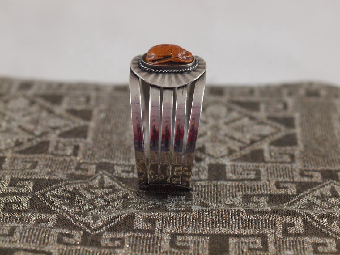 Rigid Silver Bracelet Beetle Antique Egypt, 1920s - 3