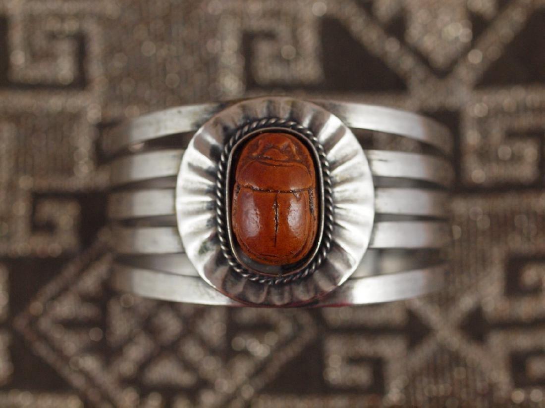 Rigid Silver Bracelet Beetle Antique Egypt, 1920s - 5