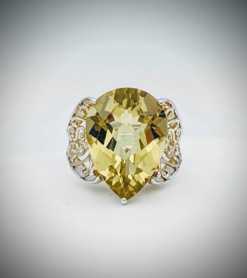 Sterling Silver Vintage Designed Beryl Ring, 10.21ct