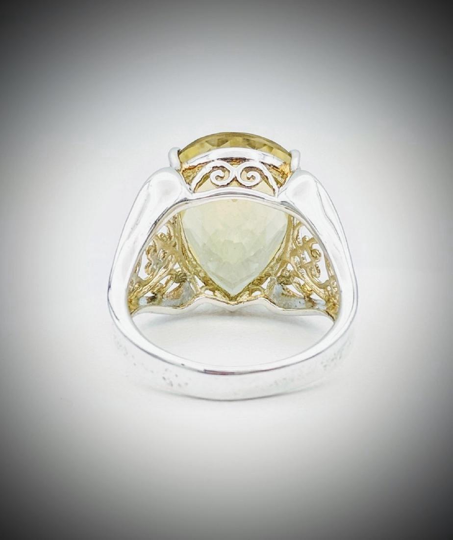 Sterling Silver Vintage Designed Beryl Ring, 10.21ct - 2
