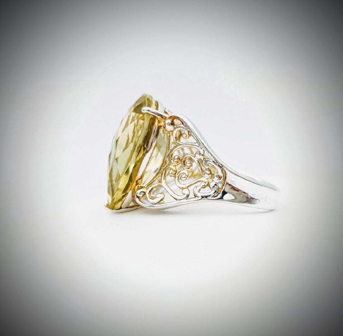 Sterling Silver Vintage Designed Beryl Ring, 10.21ct - 3