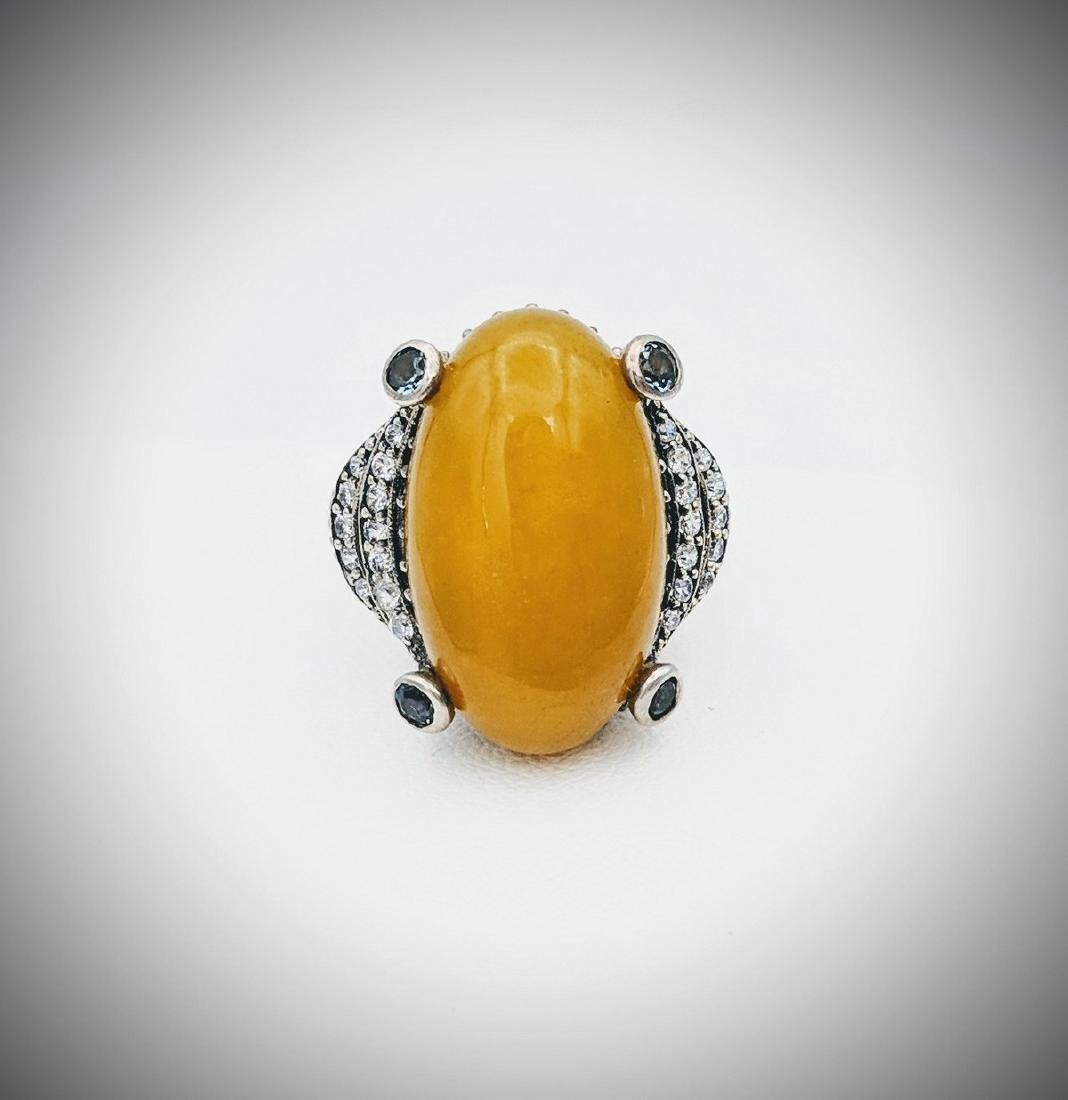 Sterling Silver Yellow Jade Topaz Cubic Zirconia Ring