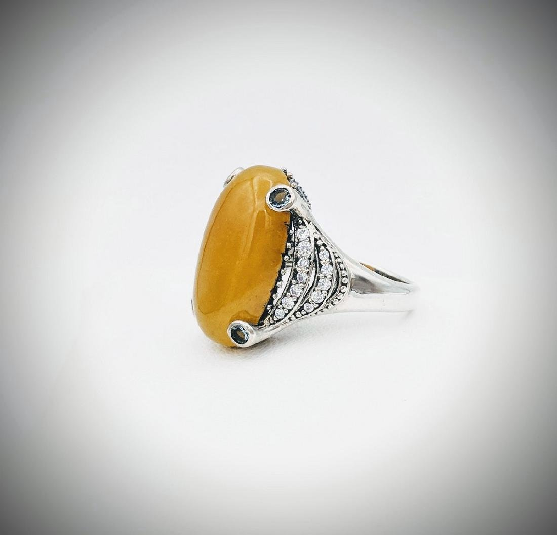 Sterling Silver Yellow Jade Topaz Cubic Zirconia Ring - 3