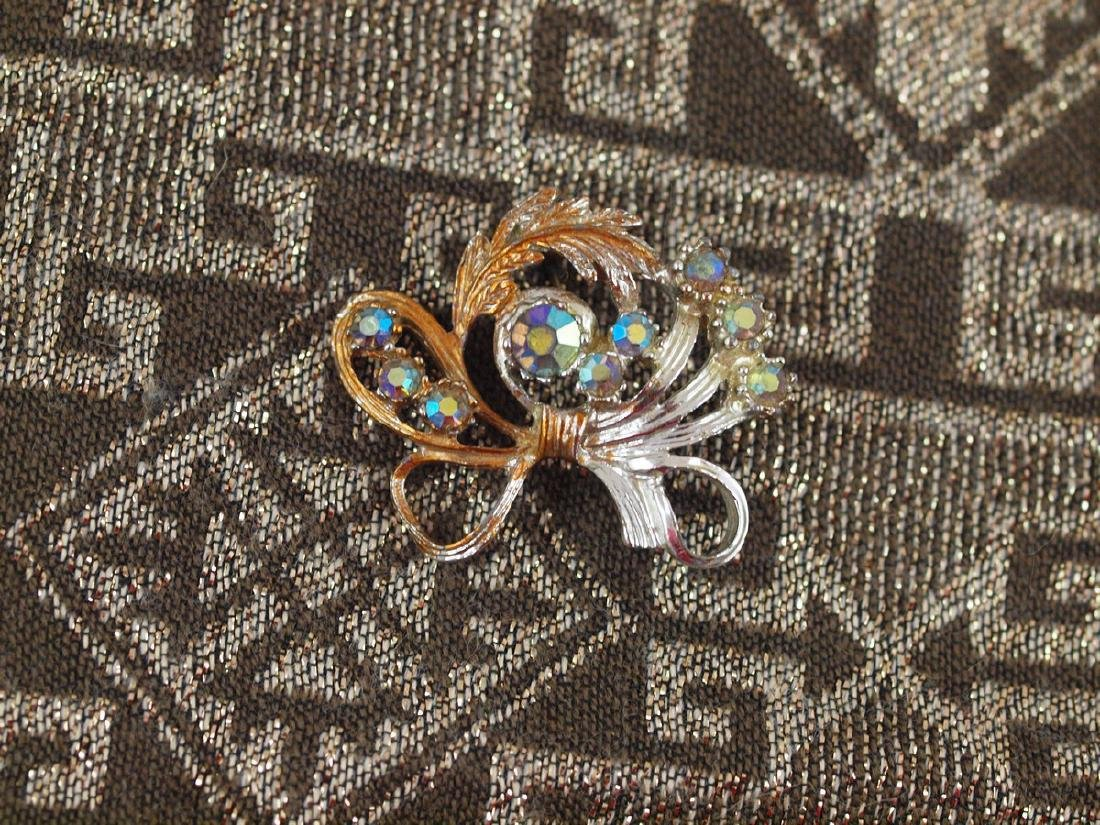 Golden Brooch Richly Decorated Art Deco