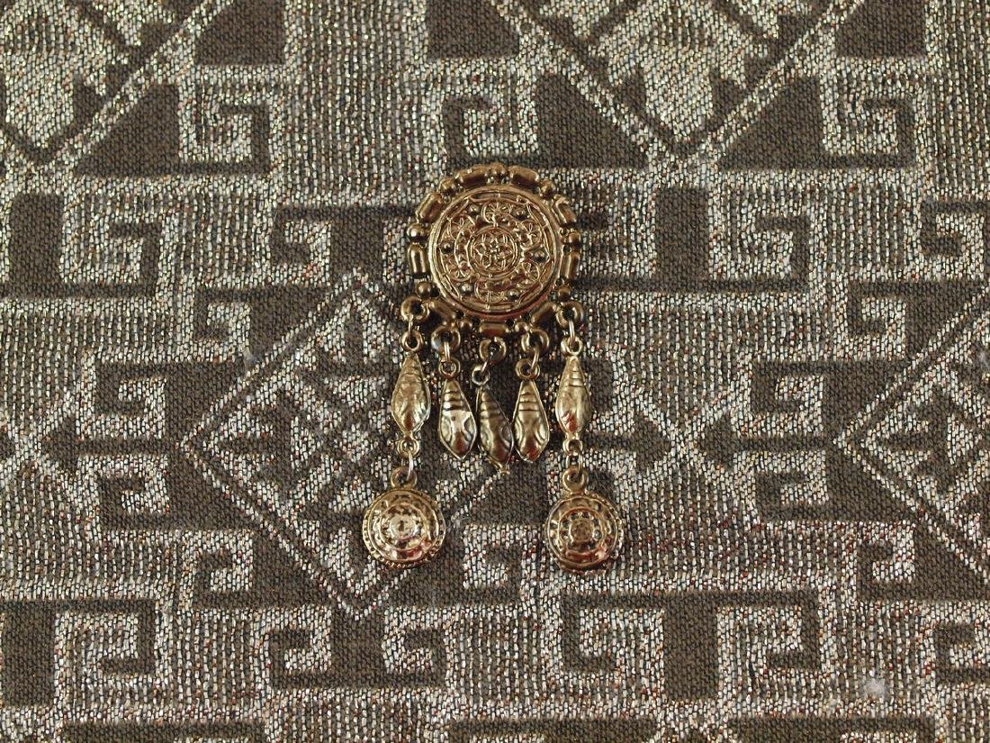 Vintage Brass Brooch Richly Decorated, 1920s